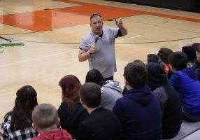 During presentations at Moundsville Middle School and John Marshall High School Friday morning, Bobby shared his story and encouraged students to build strong foundations for successful lives.